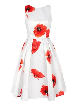 Charming Sleeveless Round Neck Flowers Pattern White 3D Painted Dress