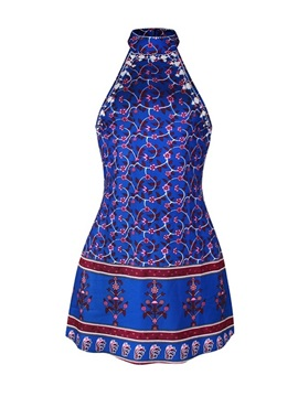 Floral 3D Pattern Summer Fashion Style Backless Sleeveless Sexy Cool Blue Dress