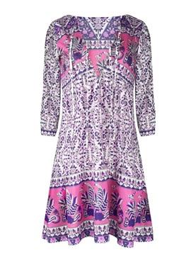 Leisure Floral Pattern Deep V Neck Beach Summer Cool Holiday 3D Print Dress