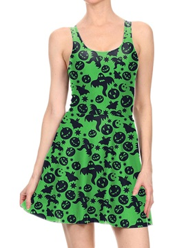 Women's 3D Printed Green Bat Pumpkin Halloween Mini Skater Tank Dresses