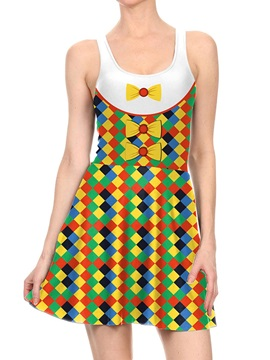Women's 3D Printed Bow-Knot Halloween Mini Skater Tank Dresses