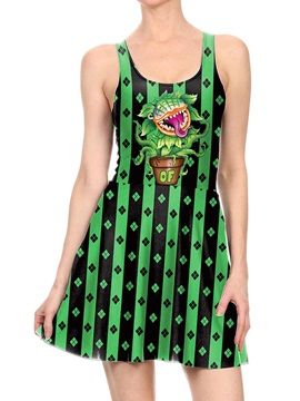 Women's 3D Printed Piranha Flowers Halloween Mini Skater Tank Dresses