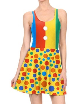 Women's 3D Printed Colorful Dots Halloween Mini Skater Tank Dresses