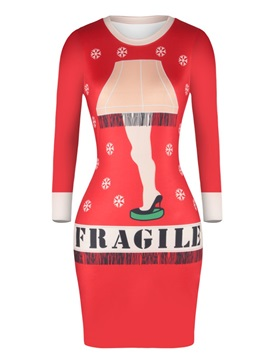 Christmas Sweater Slim Leg Pattern Pullover Women Dress
