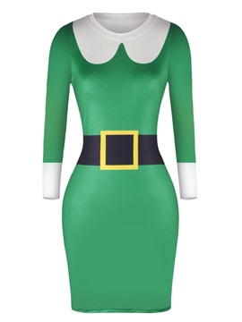 Christmas Style Sweater Classic Green Pullover Women Dress