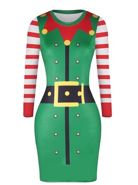 Christmas Clown Collar Point Pattern Sweater Pullover Women Dress