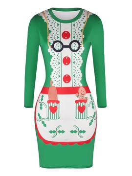 Christmas Character with Glasses Pattern Pullover Women Dress