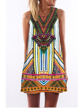 3D Boho Style Print Crew Neck Sleeveless Women Summer Dress