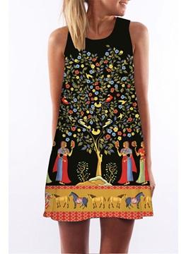 3D Women Horse Painting Print Crew Neck Sleeveless Women Summer Dress