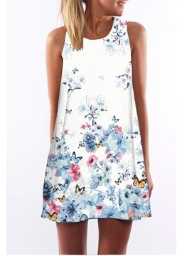 3D Floral Butterfly Print Crew Neck Sleeveless Women Summer Dress