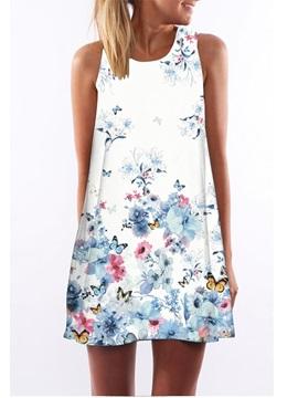 3D Floral Butterfly Print Crew Neck Sleeveless Women Summer Dress