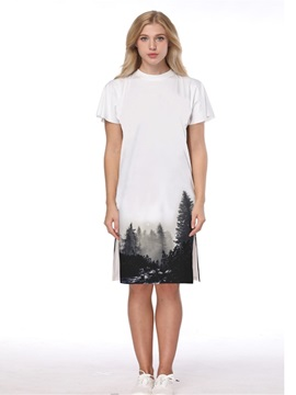 Monochrome Forest Pattern 3D Painted Short Sleeve Dress