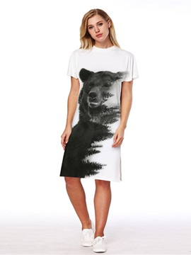 Black Bear Pattern 3D Painted Short Sleeve Dress
