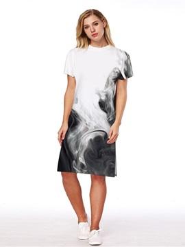 Fog Pattern 3D Painted Short Sleeve Dress