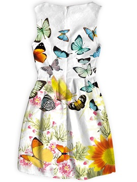 Multicolor Butterflies Pattern Polyester Material Dress for Women
