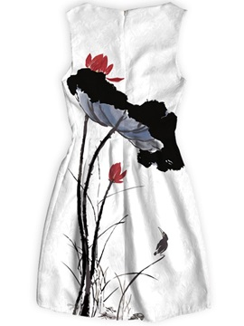 Wash Painting Above Knee Length Polyester Material Dress for Women