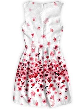 Flowers Pattern Sleeveless Above Knee Length Dress for Women