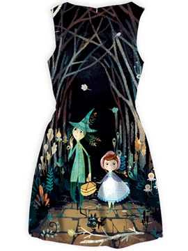 Cartoon Patterns Polyester Material Above Knee Length Dress for Women