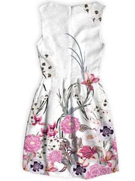 Polyester Material Flowers Pattern Above Knee Length Dress for Women