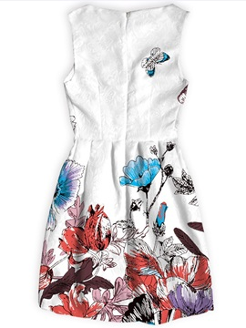 Sleeveless Polyester Material Flowers Pattern Dress for Women
