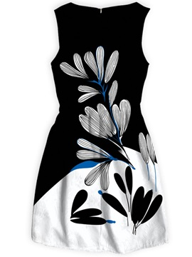 Polyester Material Above Knee Length Flowers Pattern Dress for Women