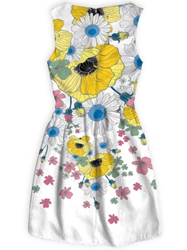 Flowers Pattern Sleeveless Style Polyester Material Dress