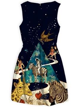 Cartoon Pattern Sleeveless Polyester Material Dress for Women