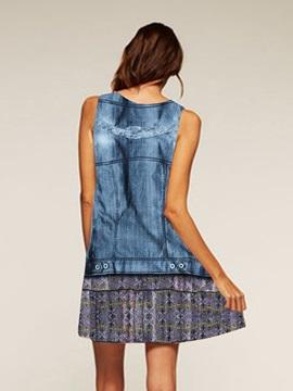 Polyester Material Sleeveless Above Knee Length Dress for Women