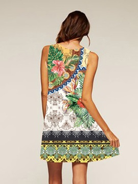 Flowers Pattern Polyester Material Above Knee Length Dress for Women