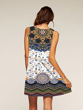 Multicolor Style Above Knee Length Polyester Material Dress for Women