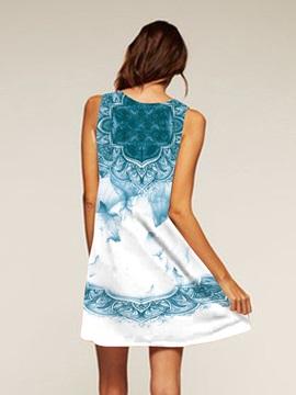 Polyester Material Sleeveless Style Above Knee Length Dress for Women