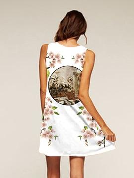 Above Knee Length Flowers Pattern Sleeveless Style Dress for Women