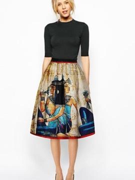 Fancy Ancient Egypt Pattern 3D Painted Midi Skirt