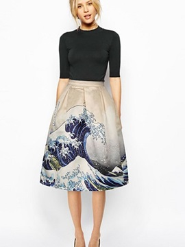 Attractive Surge Sea Waves Pattern 3D Painted Midi Skirt