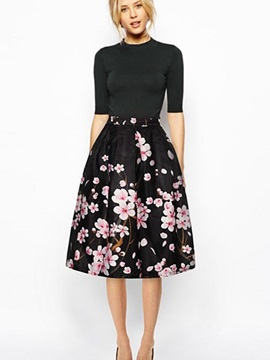Floral Stunning Peach Blossom Pattern Black Background 3D Painted Midi Skirt