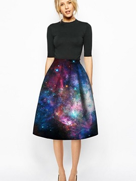 Shining Starry Sky Pattern 3D Painted Midi Skirt