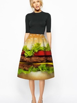 Attractive Hamburger Pattern 3D Painted Midi Skirt
