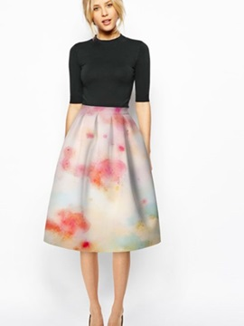 Amazing Colorful Fashion Pink Cloud Pattern 3D Painted Midi Skirt
