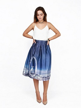 Modern Sky Wheel Scenery Pattern Spandex Comfortable 3D Painted Midi Skirt
