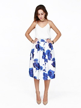 Pretty Blue Rose Pattern White 3D Painted Midi Skirt