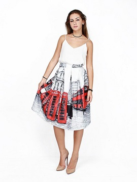 Attractive Street Red Double-Decker Bus Pattern 3D Painted Midi Skirt
