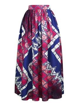 Indian Folk-Custom Style Comfortable High Quality Beach Midi 3D Printing Skirt