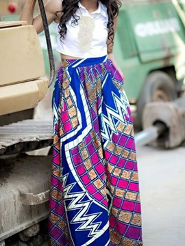 Indian Folk-Custom Style Comfortable High Quality Beach Midi 3D Printing Skirt