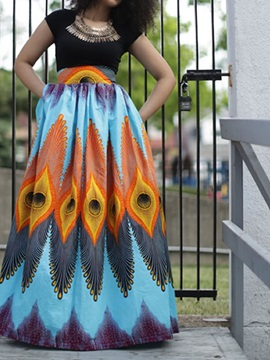 Peacock Beach Pattern Animals Midi Blue Formal 3D Printing Skirt