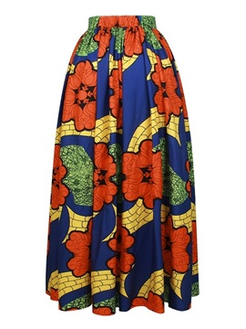 African Polyester Fashion High-Waist Knee-Length 3D Painted Skirt
