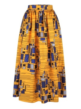 Mid-Calf Country Style High-Waist Straight Elastic Printed Long Dress