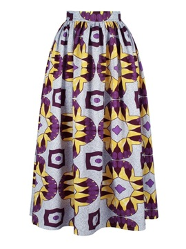 Folk-Custom Waistband Mid-Calf Straight High-Waist Printed Maxi