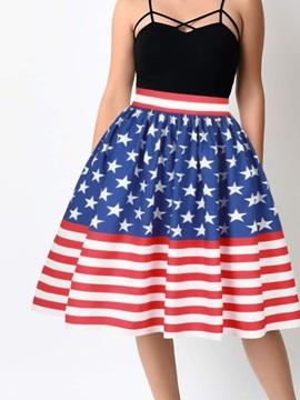 Knee Length Ball Gown Stretchy Flared Digital Midi Skirt