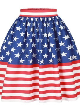 US Flag Pattern Formal Midi Comfortable High Quality 3D Printing Skirt