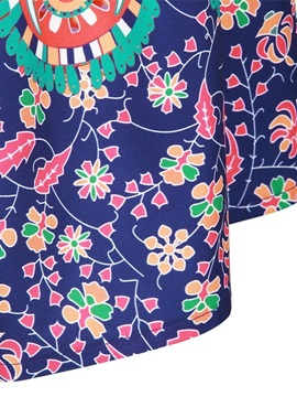 Bohemia Folk-Custom Ball Gown Pleated Printed Midi Skirt
